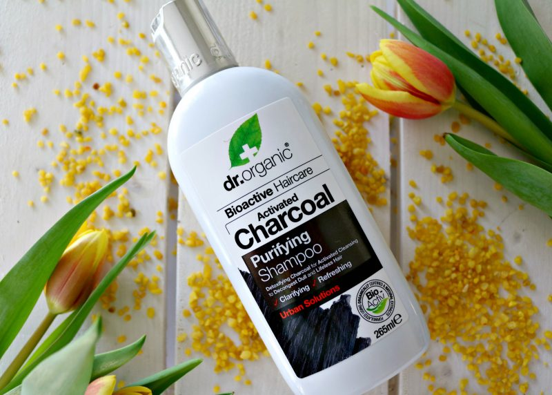 PR products Dr. Organic shampoo with activated charcoal